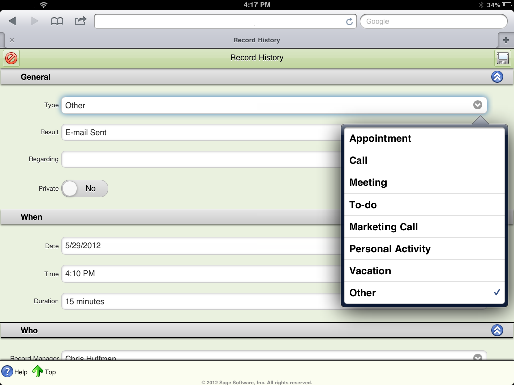Sage ACT! Premium Mobile Record History: Type