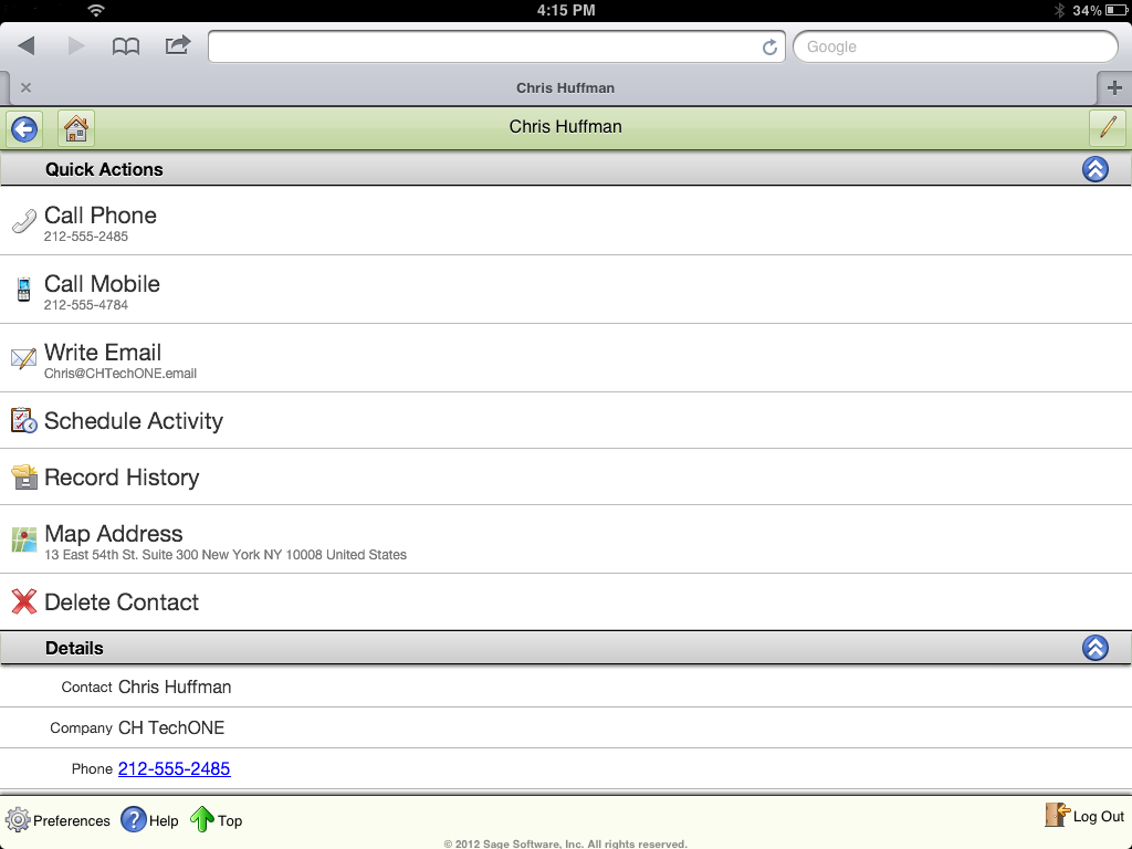 Sage ACT! Premium Mobile Contact Detail View (1)
