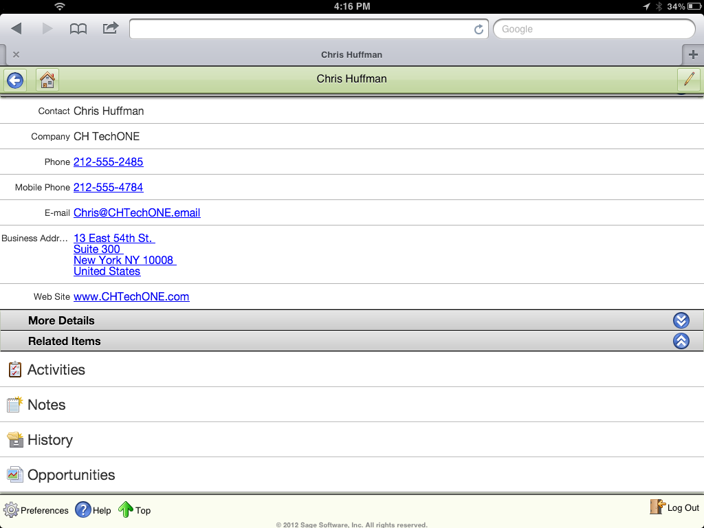 Sage ACT! Premium Mobile Contact Detail View (3)